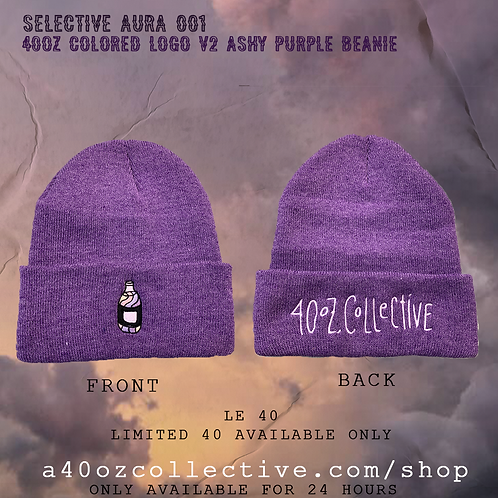 Selective Aura 001: 40oz Colored Logo V2 Purple Beanie [Double Sided Embroidery]
