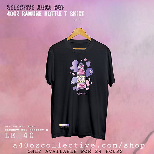 Selective Aura 001: 40oz x Ruku Ramune Bottle TShirt [Screen Print + Embroidery]