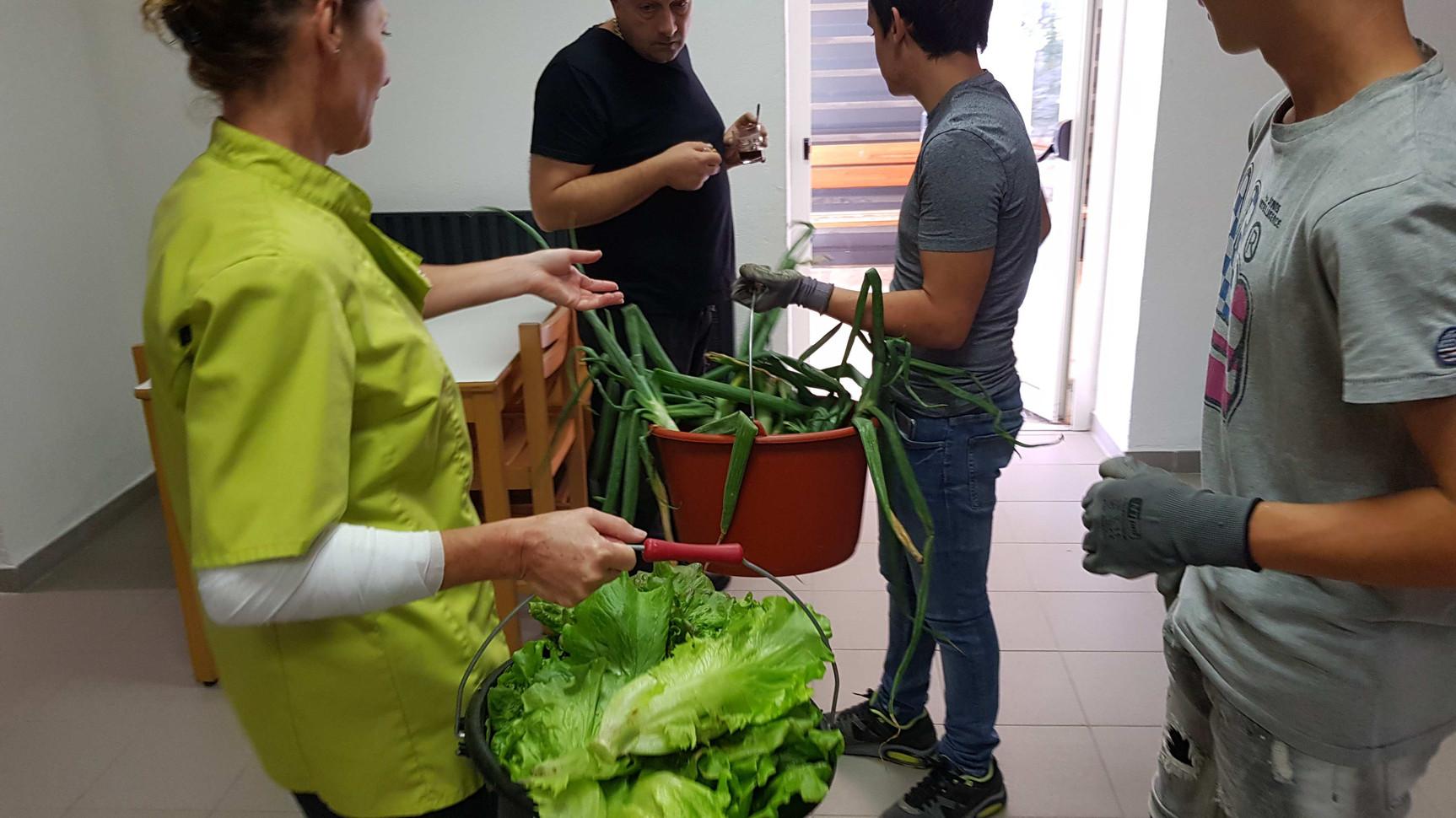 Reception en cuisine par le Chef lui même! attentif à la qualité des légumes....
