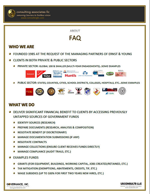 About Consulting Associates - clients & benefits