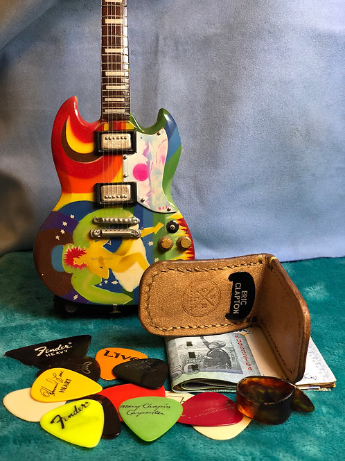 Deluxe Leather Money Clip With Plectrum Holder (New)