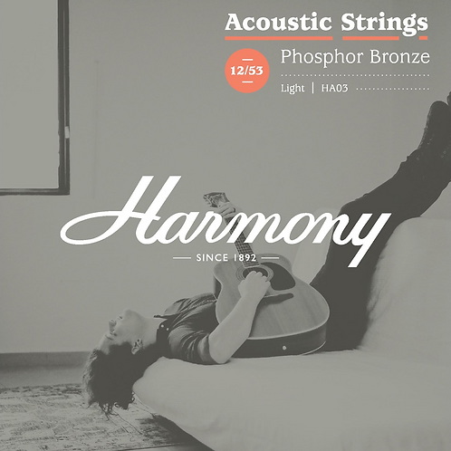 Harmony HA03 Phosphor Bronze Acoustic Guitar Strings, Light, 12/53 (New)