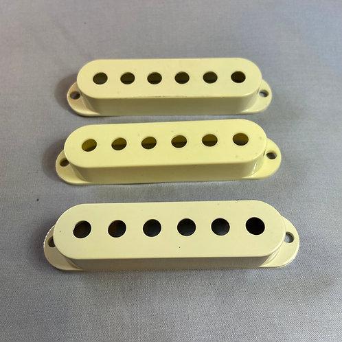 Fender Stratocaster Pickup Covers White Set ~3pcs/set (VG) - SOLD
