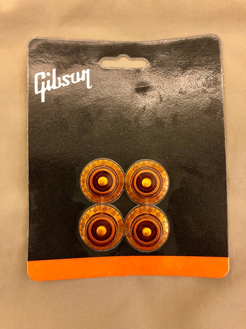 Gibson USA Top Hat Knobs (4) / Amber PRHK-030 (New) - SOLD