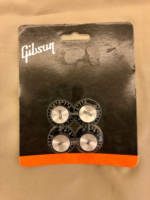 Gibson USA Top Hat Knobs (4) Black Silver PRMK-010 (New) - SOLD