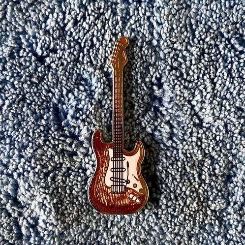Vintage Fender Stratocaster Miniature Lapel Pin Art (EXC)