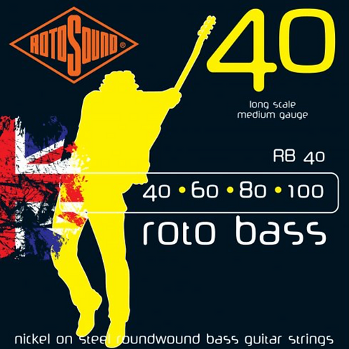 Rotosound RB40 Roto Bass Nickel On Steel RW Bass Guitar Strings 40-100 - SOLD