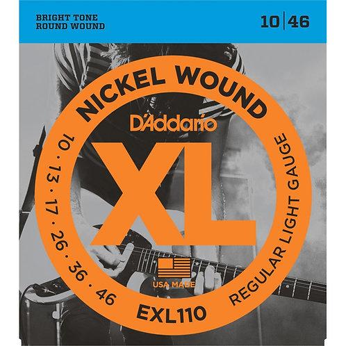 D'Addario EXL110 Nickel Wound Electric Guitar Strings 10-46 Regular (New)