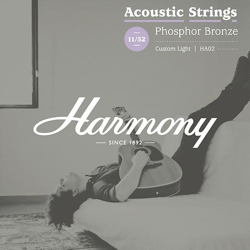 Harmony HA02 Phosphor Bronze Acoustic Guitar Strings, Custom Light, 11/52 (New)