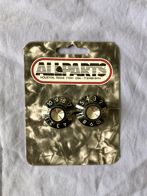 All Parts USA PK-0145-023 Set of 2 Knobs for Fender® Amps Black (New)