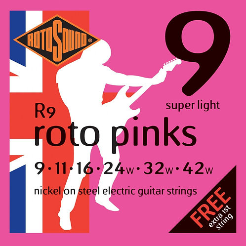 Rotosound R9 Roto Pink Nickel Electric Guitar Strings 09-42 Super Light - SOLD