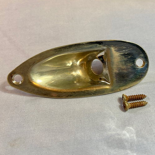 Fender Reliced Stratocaster Input Jack Plate Cover c/w Screws (VG)