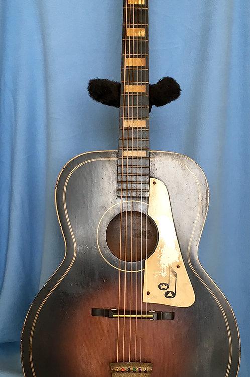 1950s Truetone Black Acoustic Flattop Guitar USA (VG)-판매