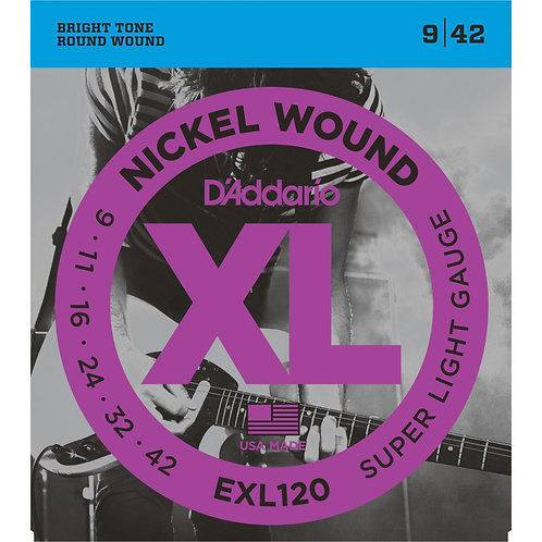 D'Addario EXL120 Nickel Wound Electric Guitar Strings 09-42 Super Light (New)