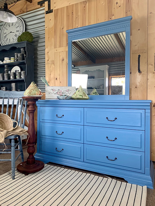 SOLD  Hamptons chest of drawers and mirror