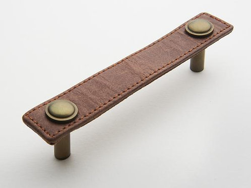 Antique Brass Tab with Tan Leather