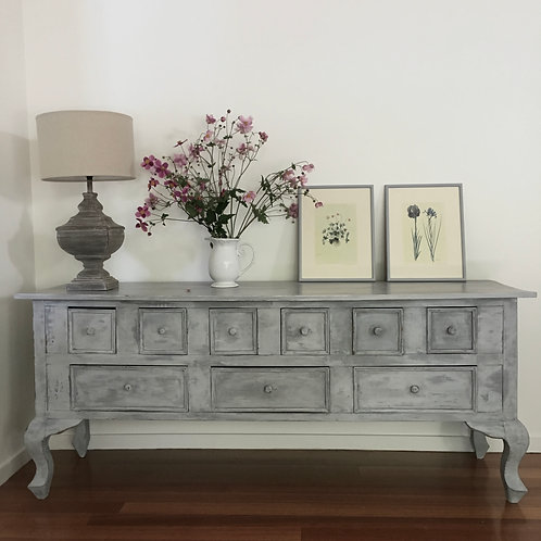####SOLD###  Moody Blue Low Sideboard