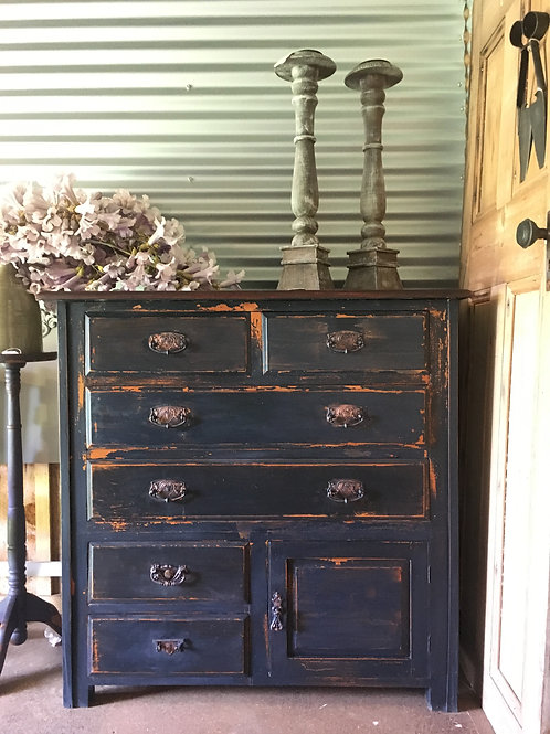 ###SOLD###Navy Blue Rustic Drawers