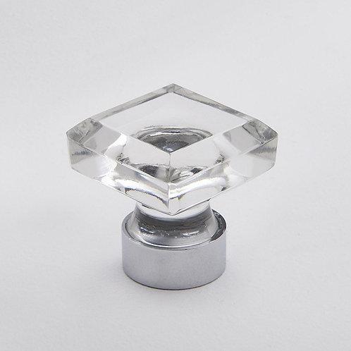 Square Glass Clear Knob. Chrome.