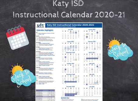 Katy ISD Instructional Calendar 2020-21