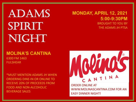 Spirit Night @ Molina's Cantina