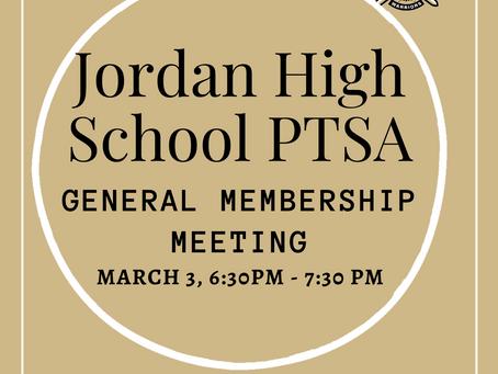 PTSA General Membership Meeting: March 3, 6:30 PM - 7:30 PM