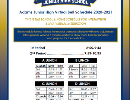Bell Schedule:August 19th through September 4th