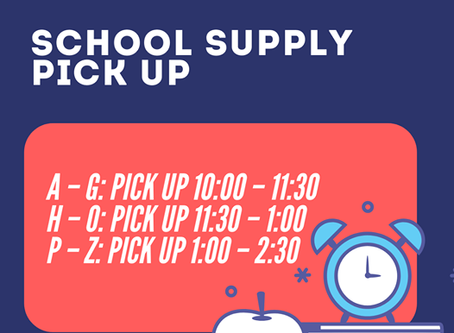 School Supply and Spirit Wear Pick-Up