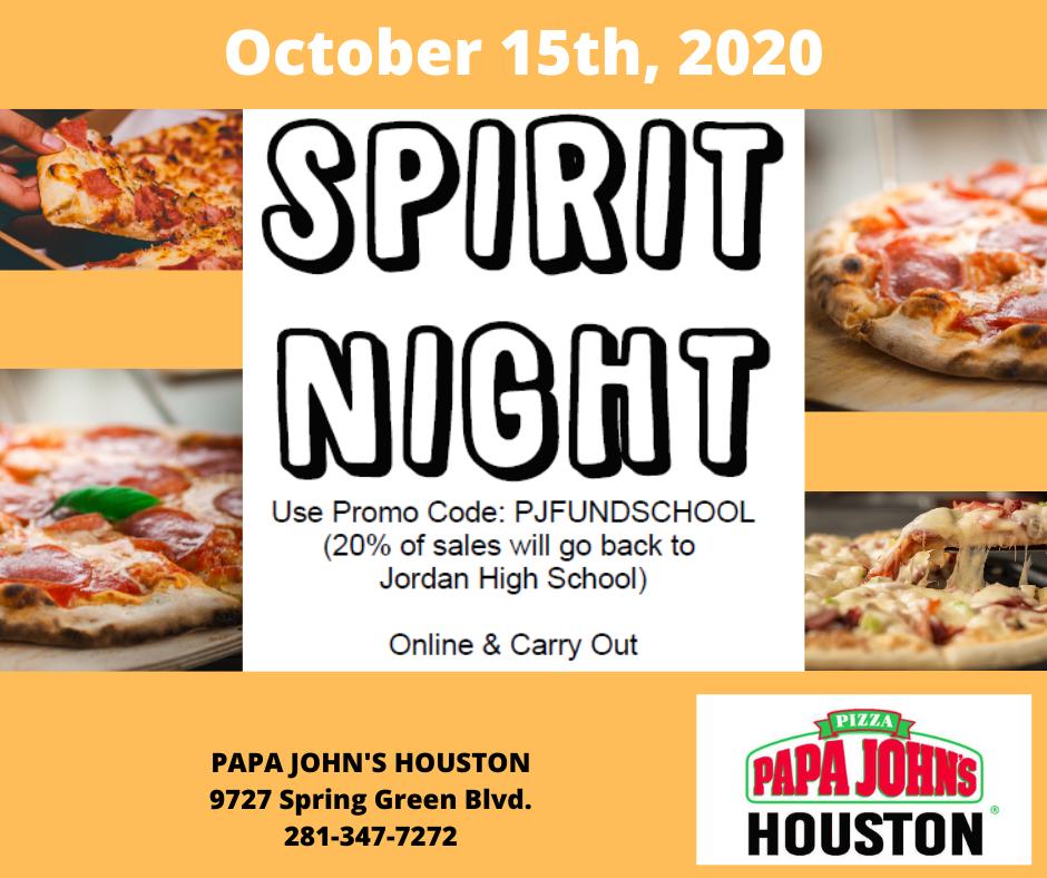 October 15: Papa John's Spirit Night