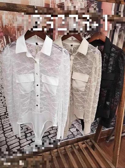 Body dentelle (modèle chemise)