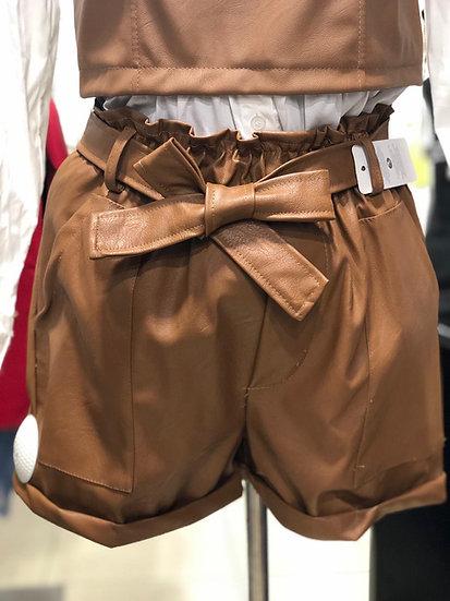 Short cuir marron
