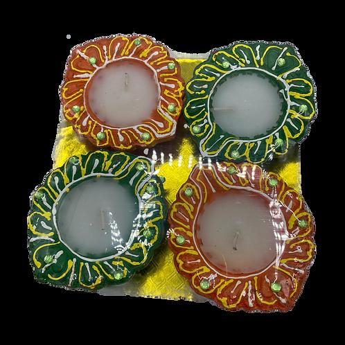 Designer clay diya with wax filled(set of 4)