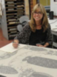 Joscelyn Gardner in the printmaking studio at NSCAD University (Summer 2016 Visiting Artist Residency)