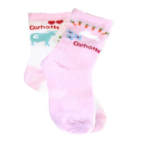 Carhartt Infant Toddler Girls Crew Sock 2-Pack
