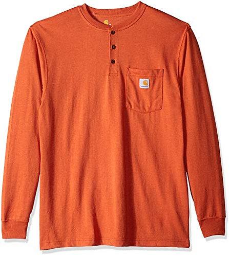 CARHARTT K128-807 WORKWEAR LONG-SLEEVE HENLEY T-SHIRT Rustic Orange Heather