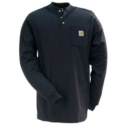 CARHARTT K128BLK WORKWEAR LONG-SLEEVE HENLEY T-SHIRT BLACK