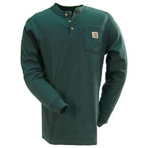 CARHARTT K128HTG WORKWEAR LONG-SLEEVE HENLEY T-SHIRT HUNTER GREEN
