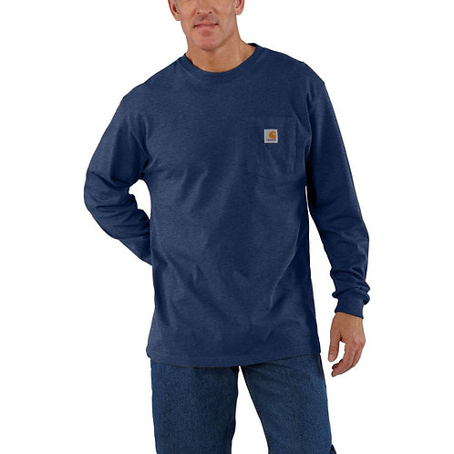 CARHARTT K126-413 WORKWEAR LONG-SLEEVE POCKET T-SHIRT DARK BLUE COBALT HEATHE