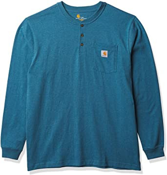 CARHARTT K128-I37 WORKWEAR LONG-SLEEVE HENLEY T-SHIRT OCEAN BLUE HEATHER