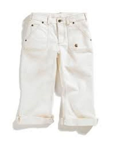 Washed 5-Pocket Natural Denim Crop Pant