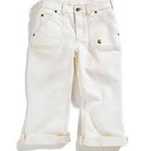Washed 5-Pocket Natural Denim Crop Pant