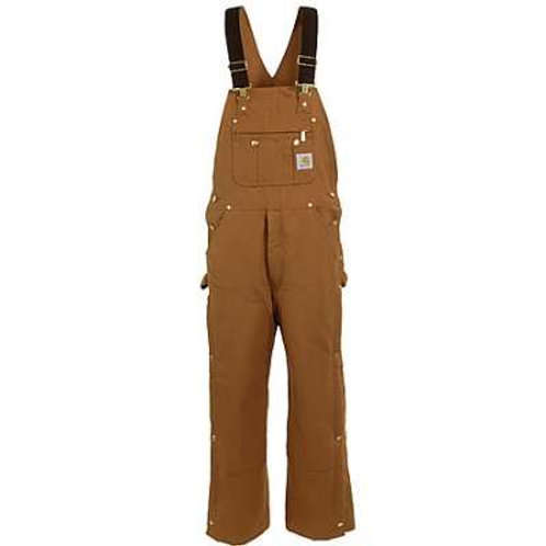 CARHARTT R41 DUCK ZIP-TO-THIGH BIB OVERALL/QUILT LINED CONTINUD