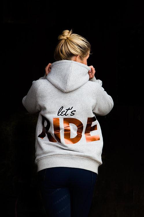 'Let's RIDE' Zip Hoodie | Marl Grey