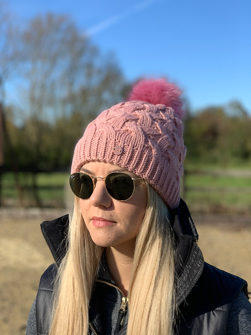 Cable Knit Bobble Hat | Rose Pink