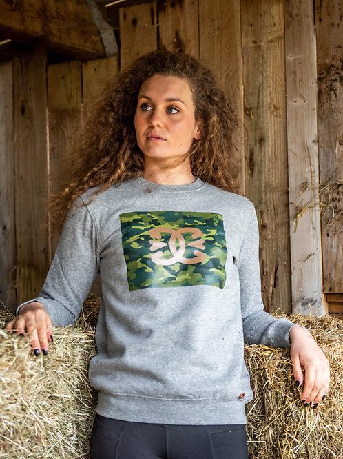 Camo Organic Cotton Crew Neck Sweater | Grey