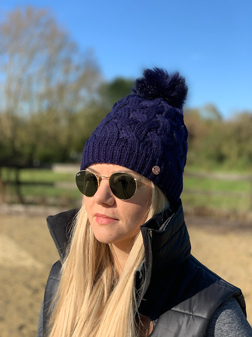 Cable Knit Bobble Hat | Navy