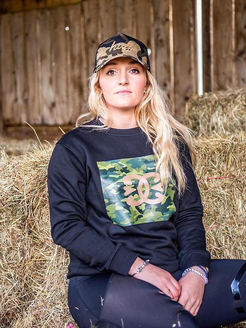 Camo Organic Cotton Crew Neck Sweater | Black
