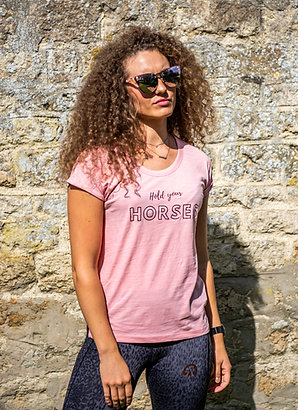Hold Your Horses Rolled Sleeve Tee | Raspberry Ripple