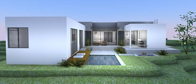 Imagem em preto e branco de um projeto em 3D da fachada principal de uma casa em estilo moderno de linhas retas, sem telhado aparente, com piscina e jardim em primeiro plano