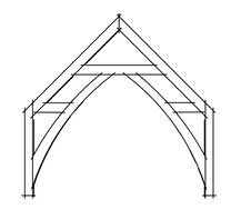 Timber frame sling brace truss